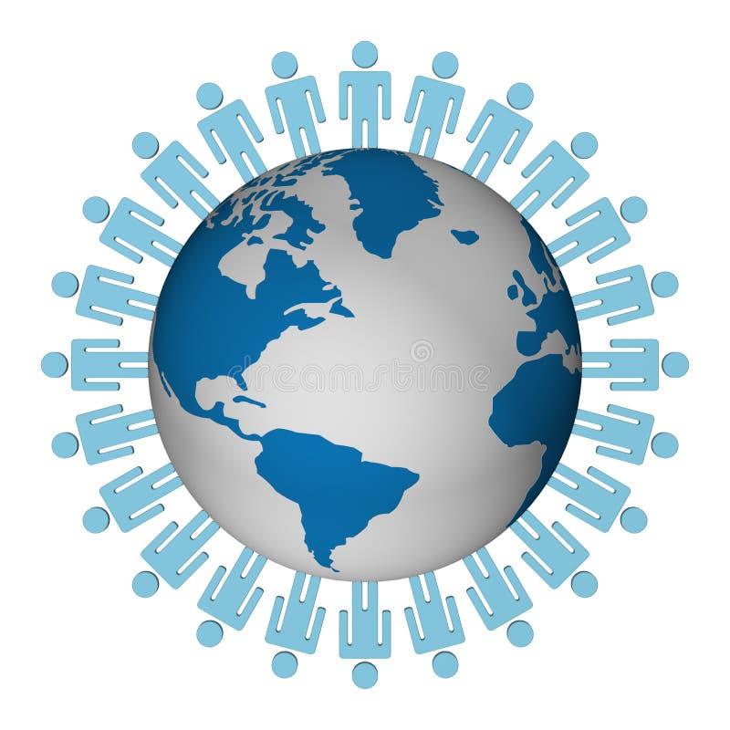 Grupo de pessoas que está o globo redondo. ilustração royalty free