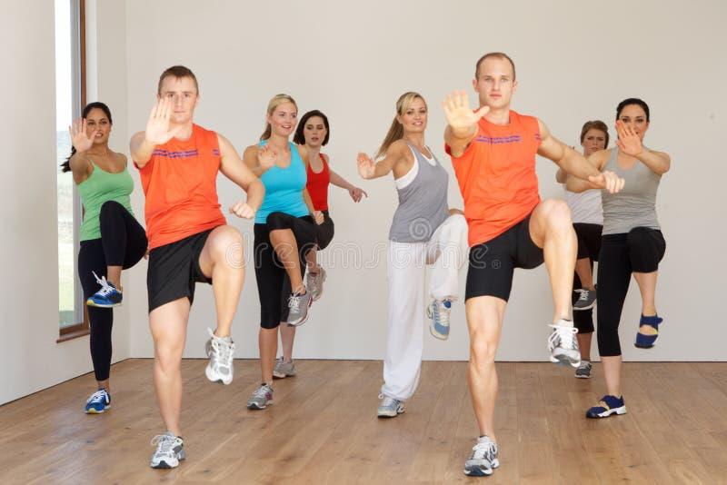 Grupo de pessoas que exercita no estúdio da dança imagem de stock