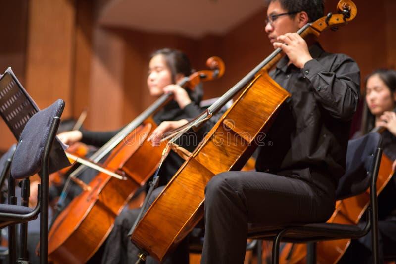 Grupo de pessoas que joga em um concerto da música clássica, porcelana imagem de stock
