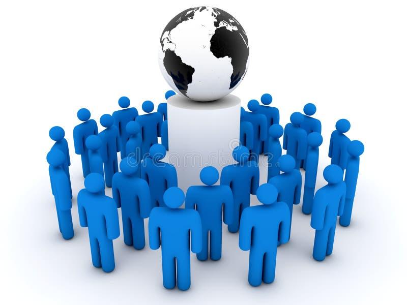 Grupo de pessoas que recolhido em torno da terra do planeta ilustração royalty free