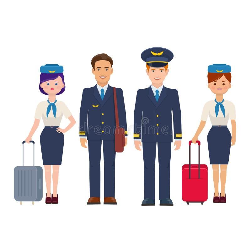 Grupo de pilotos y de asistentes de vuelo con equipaje stock de ilustración