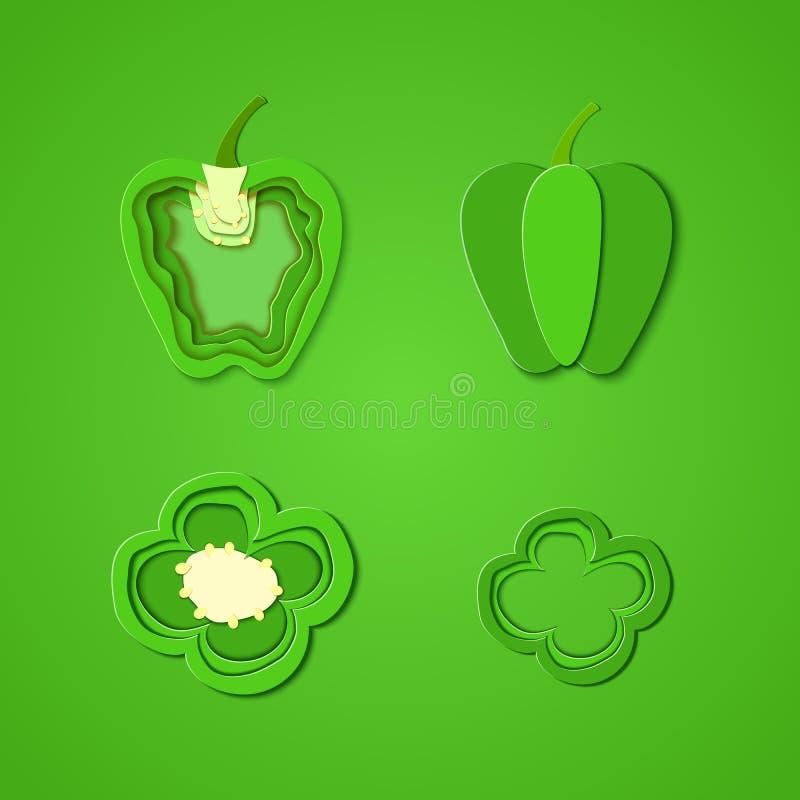 Grupo de pimenta verde cortada papel Projeto do corte do papel do vetor sob a forma da pimenta inteira e da fatia para o projeto  ilustração do vetor