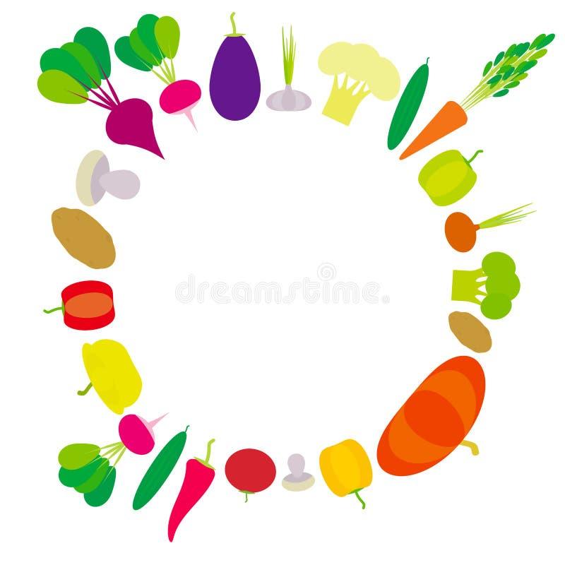 Grupo de pimentas de sino dos vegetais, abóbora, beterrabas, cenouras, beringela, pimentas encarnados, couve-flor, brócolis, bata ilustração stock