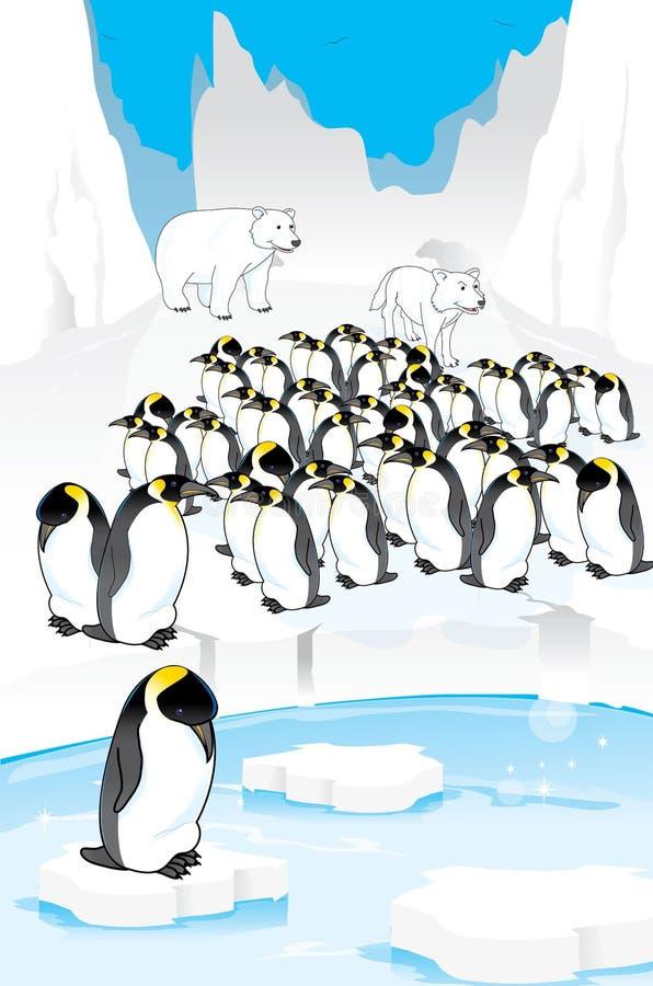 Grupo de pinguins engraçados ilustração stock