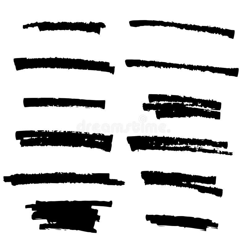 Grupo de pintura preta, cursos da escova da tinta, escovas, linhas Elementos artísticos pretos do projeto ilustração royalty free
