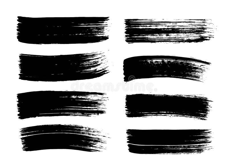 Grupo de pintura preta tirada mão, cursos da escova da tinta, escovas, linhas Elementos sujos do projeto do grunge, caixas, quadr ilustração do vetor