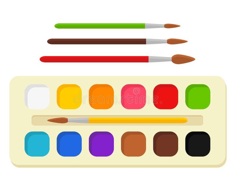 Grupo de pinturas brilhantes da aquarela na caixa com escovas de pintura paleta colorida Ferramentas e acessórios para o desenhis ilustração royalty free