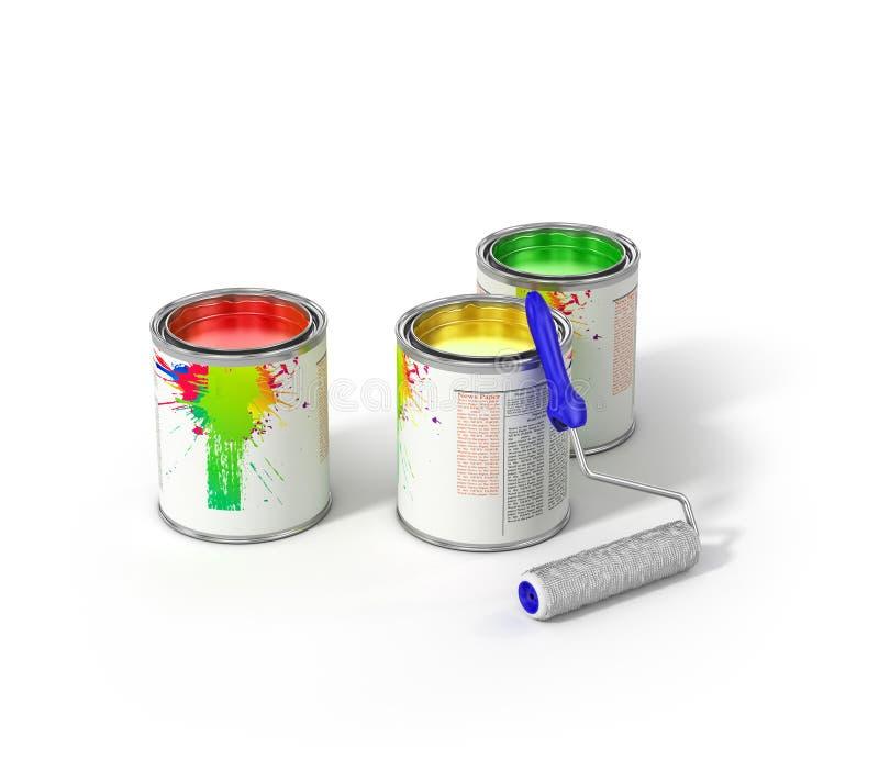 Grupo de pinturas da lata e de escova do rolo ilustração stock