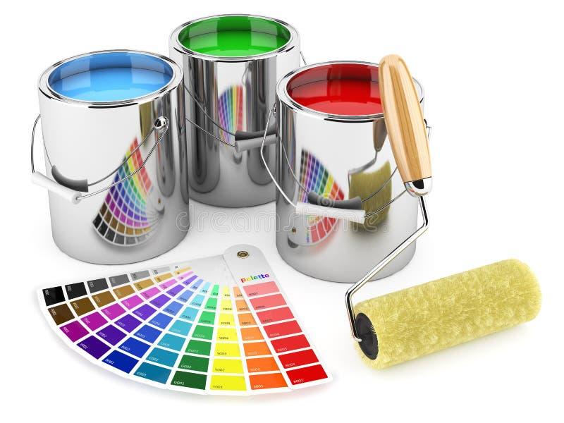 Grupo de pinturas da lata, escova do rolo e paleta das cores ilustração do vetor