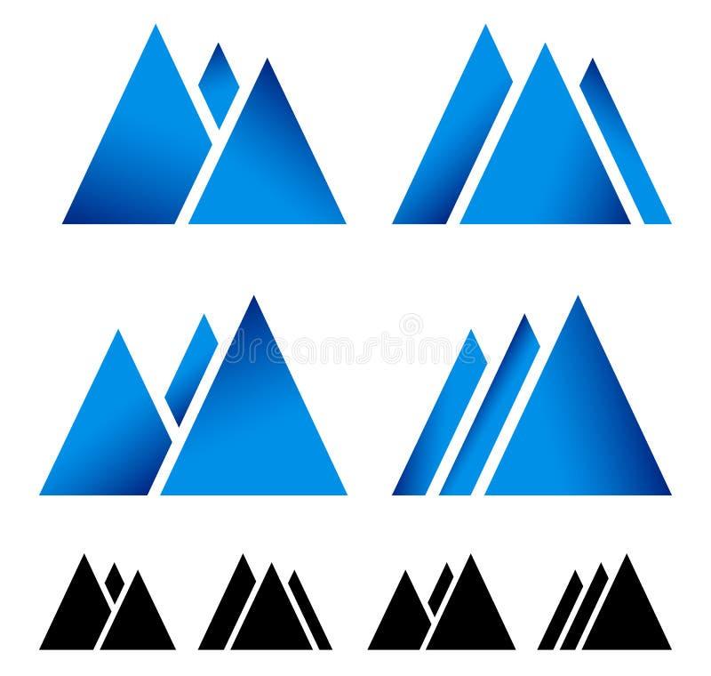 Grupo de pique, símbolos para alpino, tema do auge da montanha do wintersport ilustração do vetor
