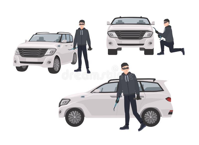 Grupo de pirata do ar que veste a roupa preta e de máscara que está ao lado do carro e que tenta quebrar nele Personagem de banda ilustração royalty free
