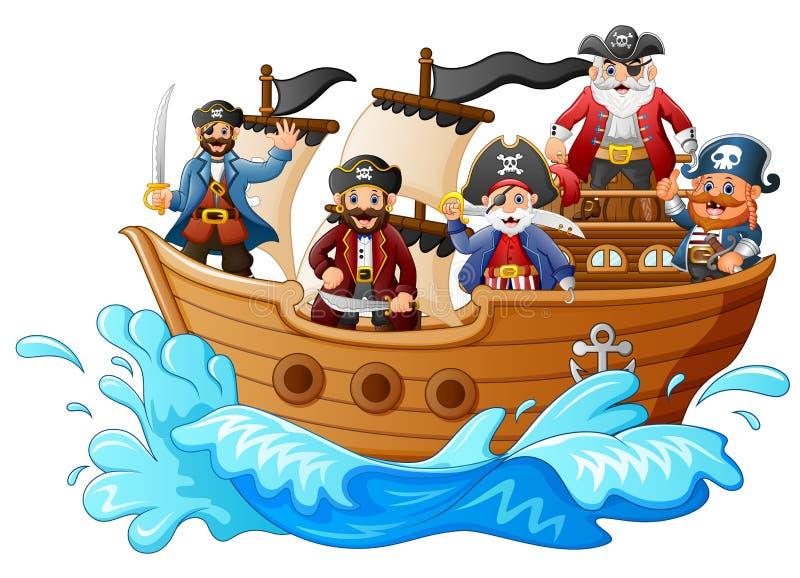 Grupo de pirata no navio ilustração royalty free