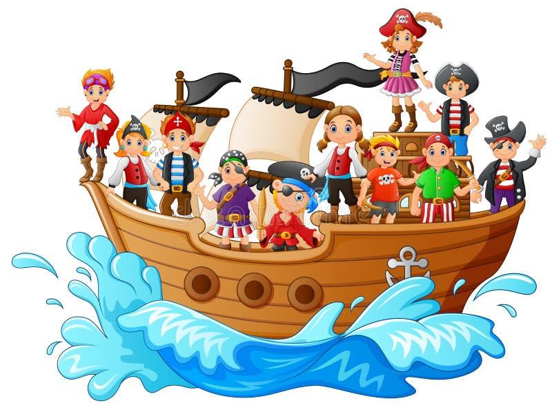 Grupo de pirata no navio ilustração stock