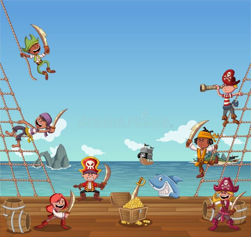 Grupo de piratas dos desenhos animados ilustração royalty free
