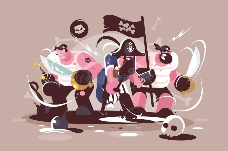 Grupo de piratas loucos com bombas e arma das espadas ilustração do vetor
