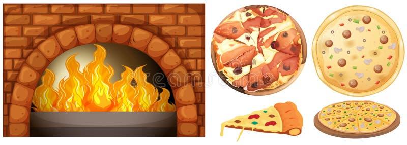 Grupo de pizza e de forno da pedra ilustração do vetor