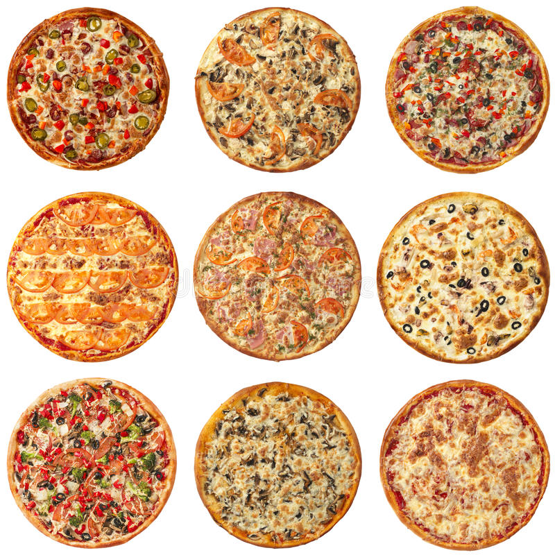 Grupo de pizzas diferentes isoladas no branco fotos de stock
