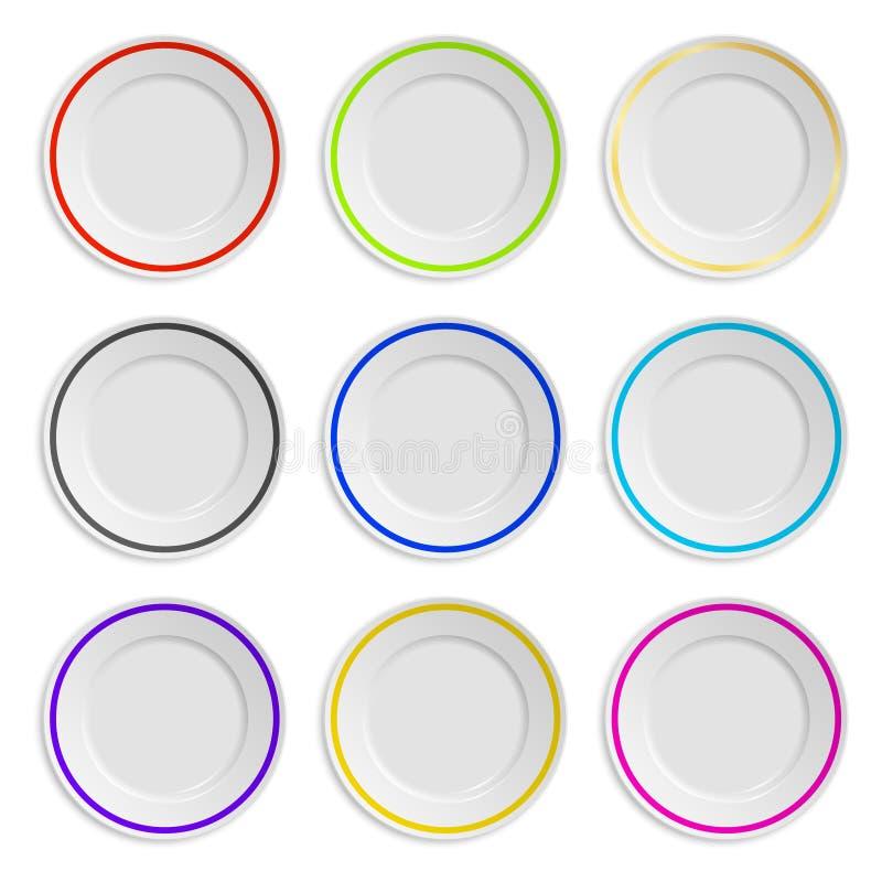Grupo de placas com a listra colorida isolada sobre ilustração do vetor