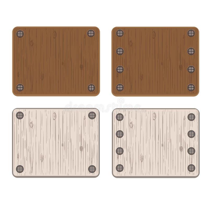 Grupo de placas de madeira ilustração do vetor