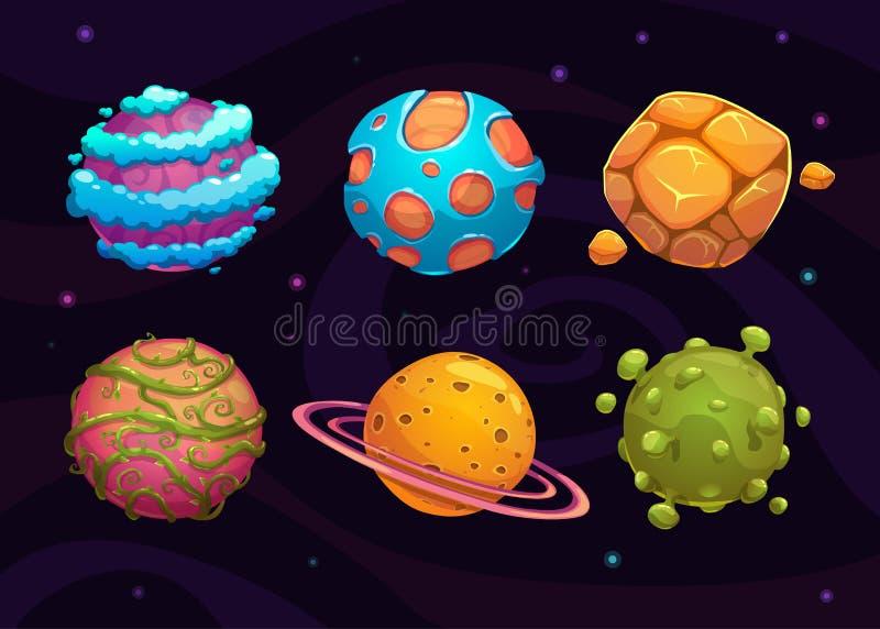 Grupo de planeta da fantasia dos desenhos animados ilustração royalty free