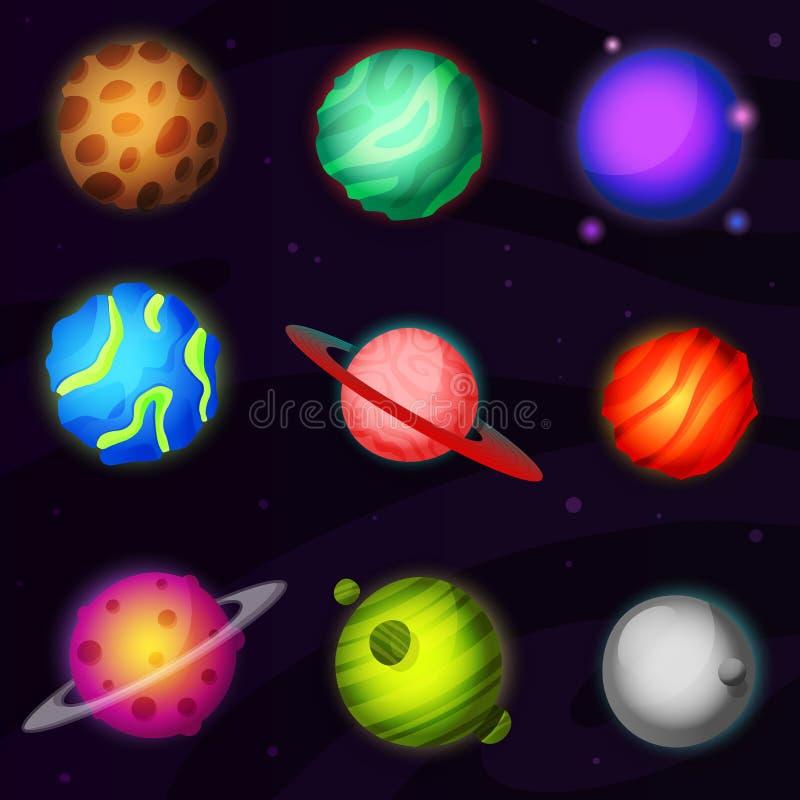 Grupo de 9 planetas fantásticos luminosos coloridos de ilustração royalty free