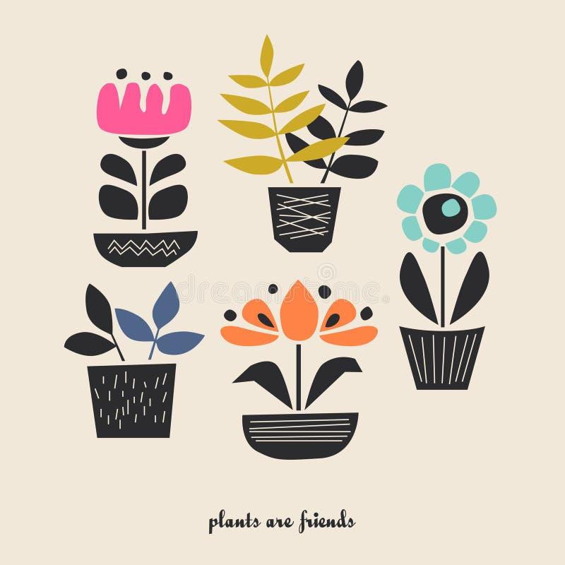 Grupo de plantas da casa em uns potenciômetros ilustração stock
