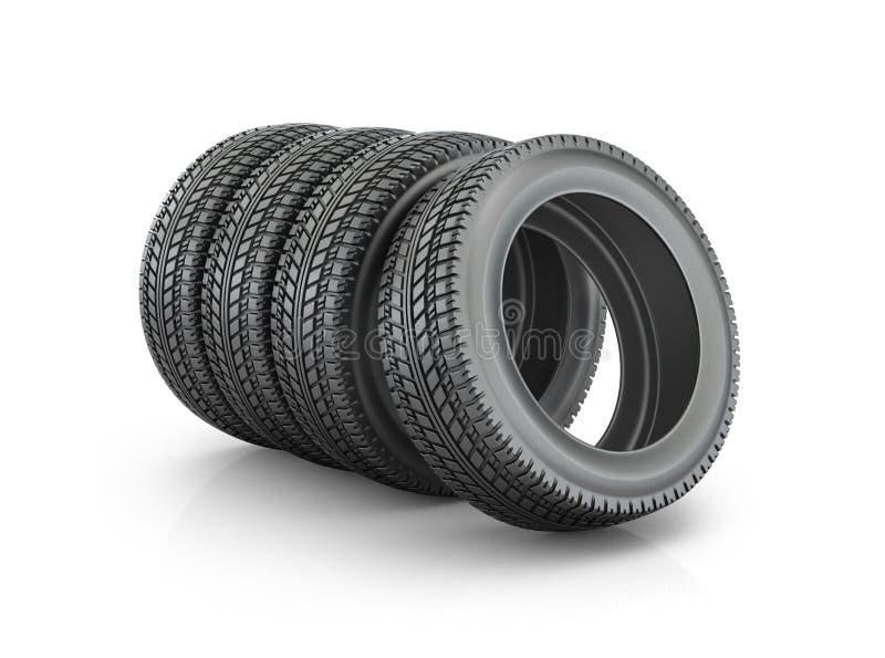 Grupo de pneus, ilustração stock