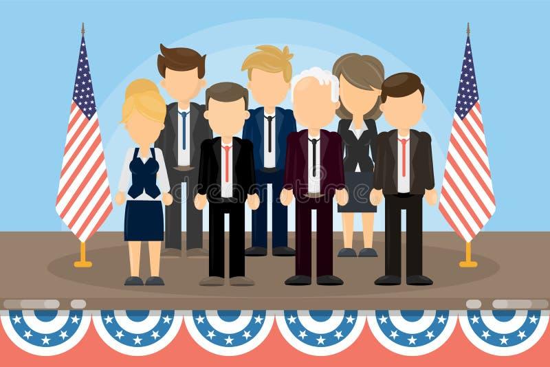 Grupo de políticos americanos ilustração do vetor
