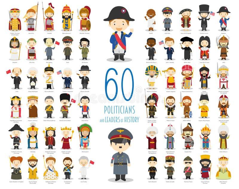 Grupo de 60 políticos e líderes relevantes da história no estilo dos desenhos animados ilustração royalty free