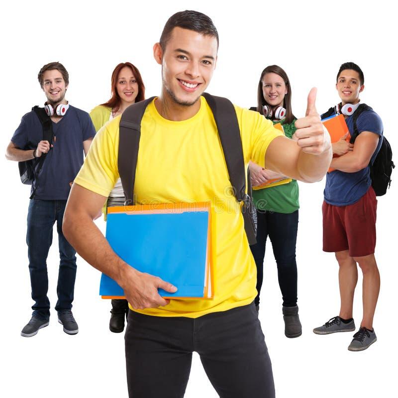 Grupo de polegares bem sucedidos do sucesso dos estudantes acima dos povos quadrados de sorriso isolados no branco fotos de stock