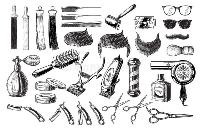 Grupo de polo da escova da lâmina das tesouras dos logotipos dos crachás das etiquetas dos emblemas do barbeiro do vintage Isolad ilustração royalty free