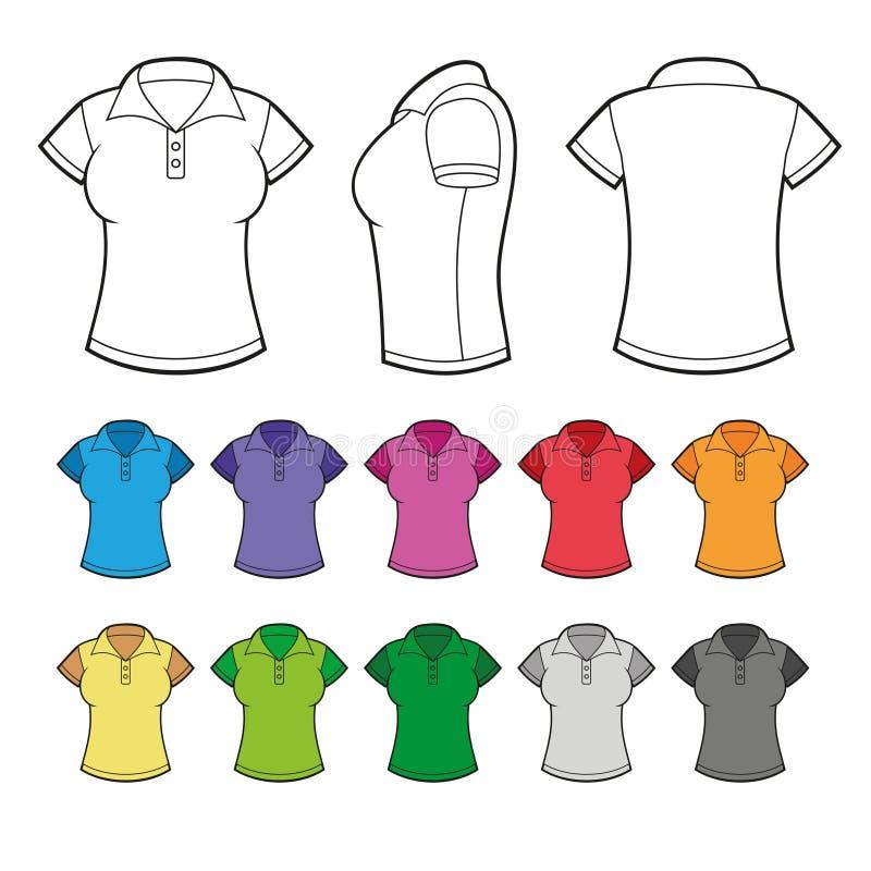 Grupo de Polo Shirts fêmea colorido Vetor ilustração do vetor