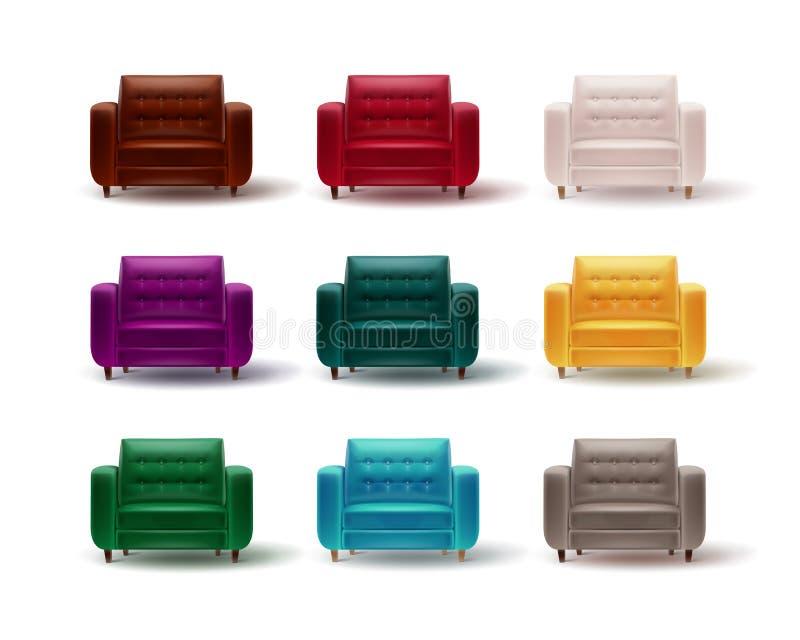 Grupo de poltronas coloridas ilustração stock