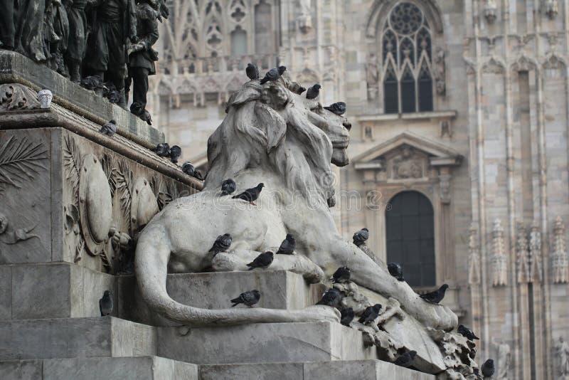 Grupo de pombos na estátua principal do leão em Piazza Duomo de Milão Itália, sujo da merda pooping do pássaro na arte atrativa d imagens de stock
