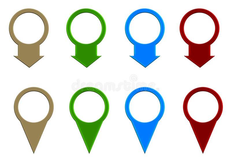 Grupo de ponteiro do mapa colorido ilustração royalty free