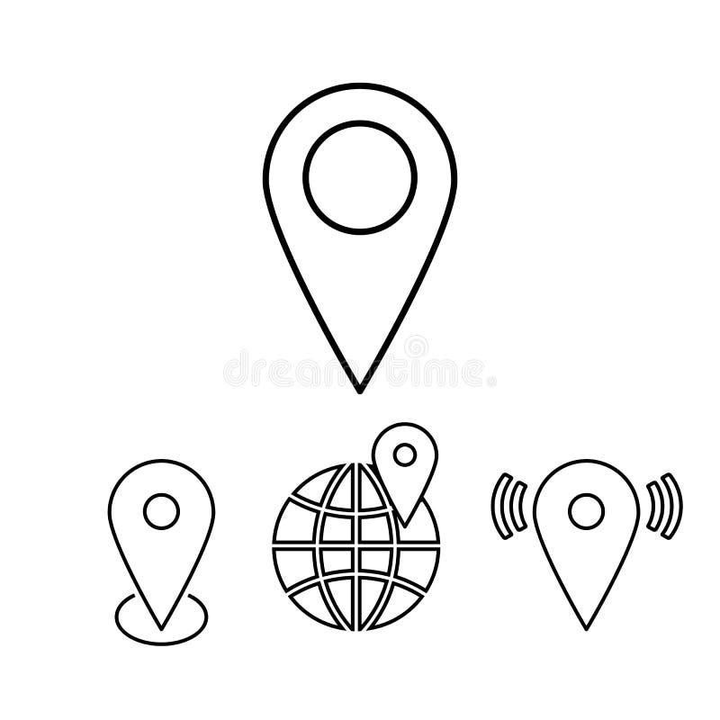 Grupo de ponteiros do mapa do esboço Ilustração linear do vetor ilustração stock