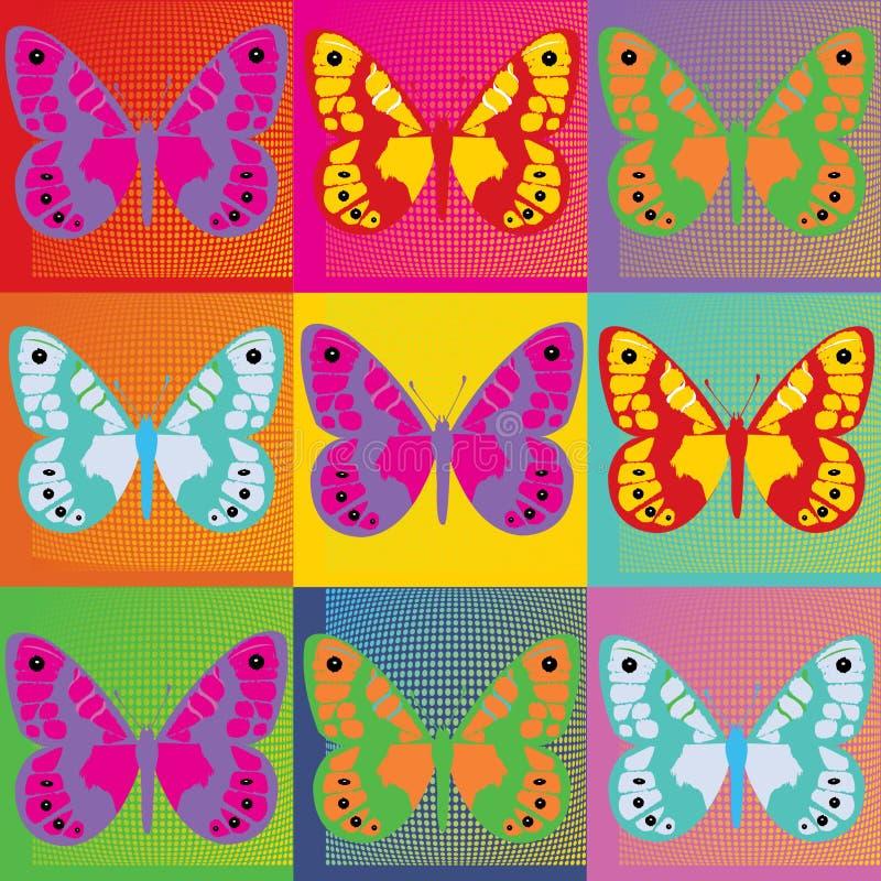 Grupo de pop art colorido da ilustração das borboletas ilustração royalty free