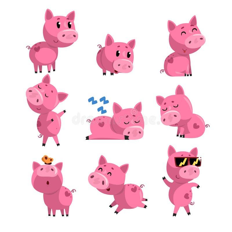 Grupo de porco pequeno bonito em ações diferentes Sono, dançando, andando, assento, saltando Personagem de banda desenhada do ros ilustração royalty free