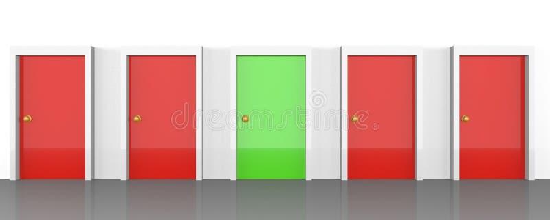 Grupo de portas com o tudo que é vermelho, mas direito que é verde ilustração stock