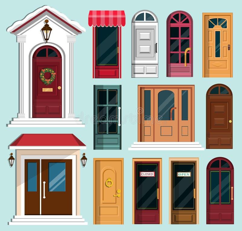Grupo de portas da rua coloridas detalhadas ilustração royalty free