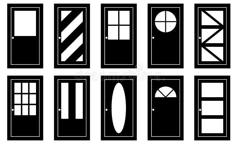Grupo de portas diferentes ilustração stock