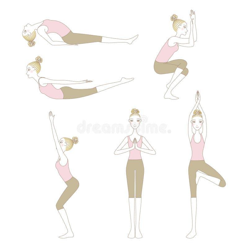 Grupo de poses da ioga isolado no fundo branco ilustração royalty free