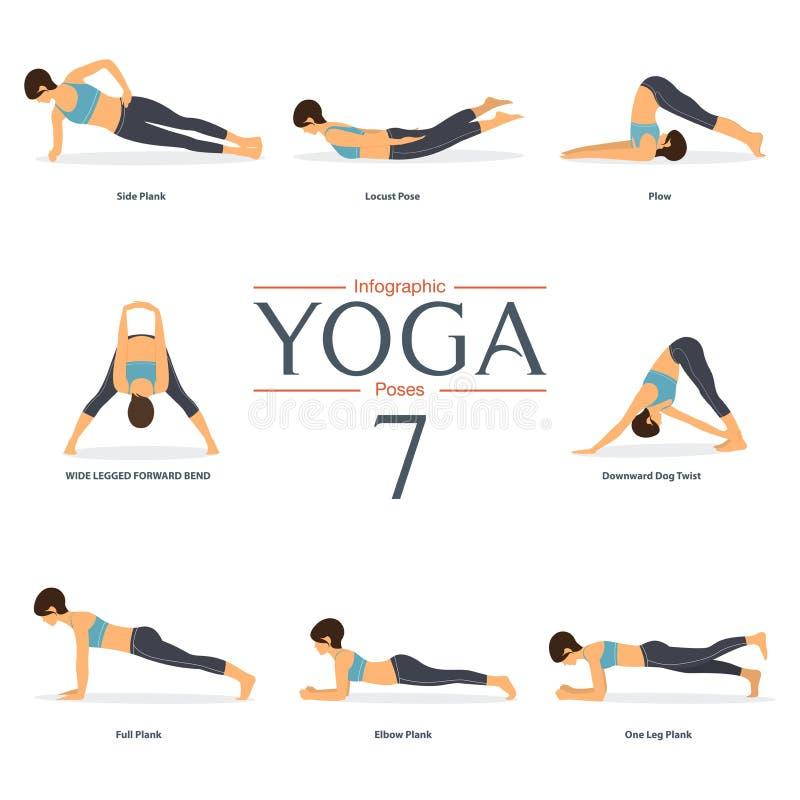 Grupo de 8 poses da ioga no projeto liso Figuras da mulher no sportswear para o infographics da ioga ilustração do vetor