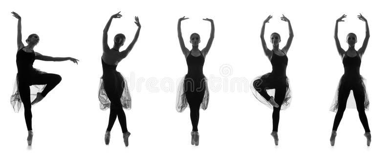 Grupo de poses diferentes do bailado. Traços preto e branco imagem de stock