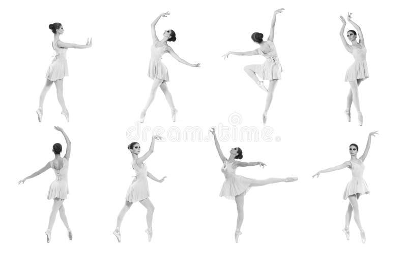 Grupo de poses diferentes do bailado. Traços preto e branco fotografia de stock
