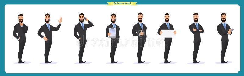 Grupo de poses do caráter do homem de negócios, gestos, ações, elementos do corpo Isolado no branco ilustração royalty free