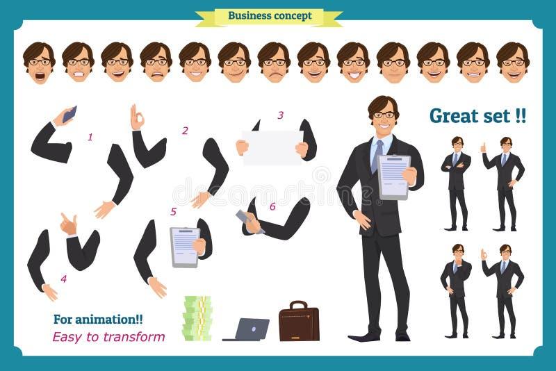Grupo de poses do caráter do homem de negócios, gestos, ações, elementos do corpo Isolado no branco ilustração do vetor