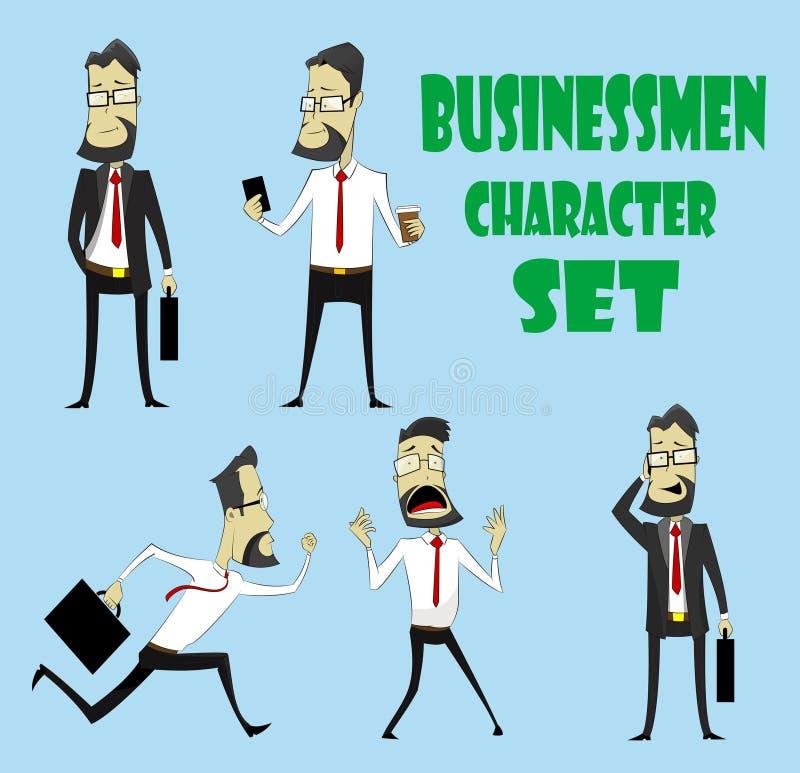 Grupo de poses dos caráteres do homem de negócios ilustração royalty free