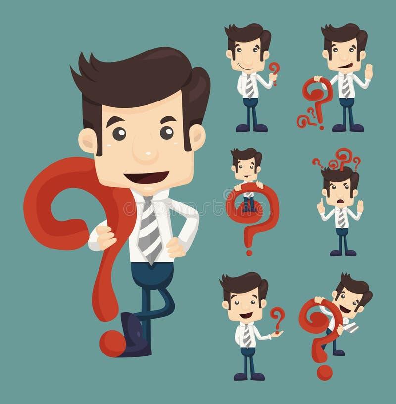 Grupo de poses dos caráteres do homem de negócios com pontos de interrogação