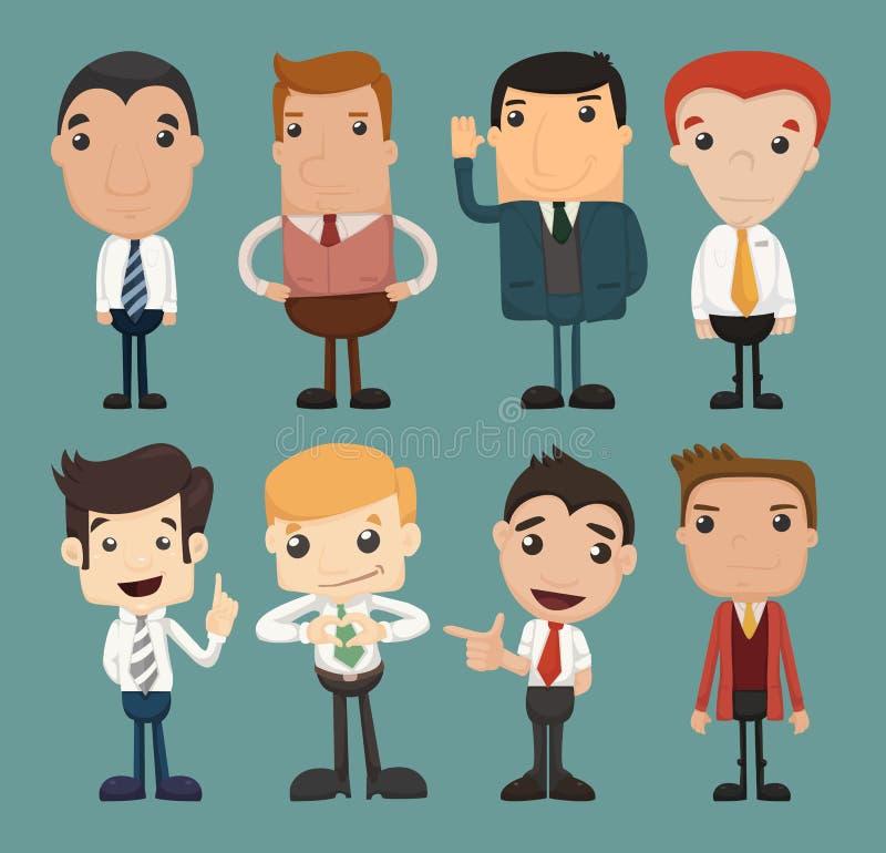 Grupo de poses dos caráteres do homem de negócios, trabalhador de escritório ilustração royalty free